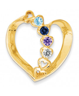 14k Synthetic Diamond Family Heart Slide