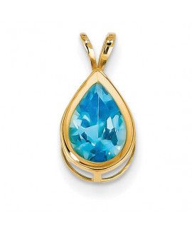 14k 10x7mm Pear Blue Topaz Checker bezel pendant