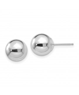 14k White Gold Polished 9mm Ball Post Earrings