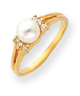 14k Diamond & 6mm Pearl Ring Mounting