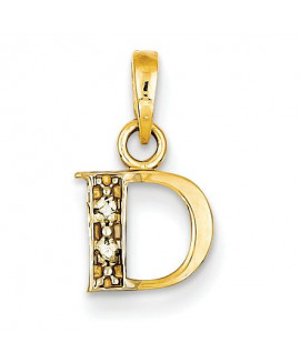 14k & Rhodium Polished .01ct Diamond Initial D Pendant